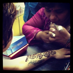 Getting a henna tattoo next to my real one....