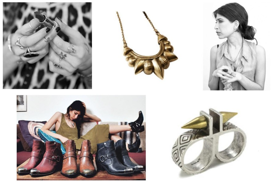 From top left: 1. Pamelas beautiful hands. Source: Elle. 2. Pamela's Tribal Spike Necklace, found on Pamela Love NYC.com , which I will one day buy when my credit card has recovered a little (this is NOT overly expensive, just me who has overspent!), 3. Pamela in Time magazine Bottom from left:1. Pamela with her shoes, I believe she has designed these for Nine West (?). 2. Pamela's Paramount Double Finger Ring (from Pamela Love NYC )