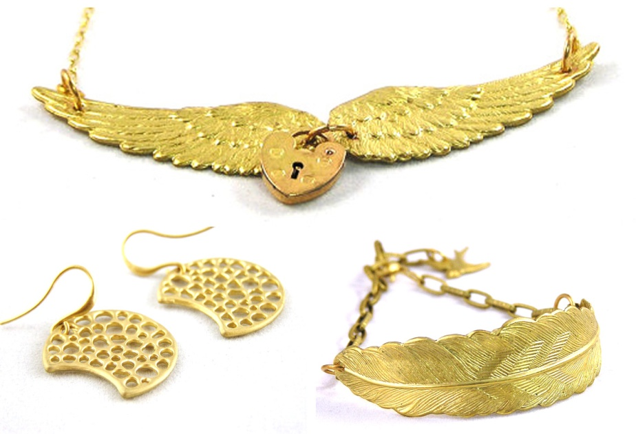 Top: Golden Angel Wing Padlock Necklace. Bottom: Half Moon Seed Pod Earrings, and Feather Bracelet with tiny bird charm.