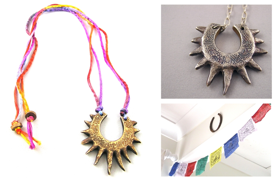 Left: bronze horse shoe necklace with varigated silk cord. Right: Fine silver spiky horse shoe necklace, and real old horse shoe from India in my bedroom.