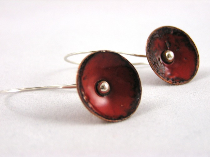 red enameled earrings