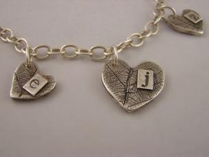 Fine Silver Fingerprint and Letter Stamp Necklace with custom leaf texture