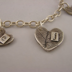 Fine Silver Fingerprint and Letter Stamp Necklace with custom leaf texture