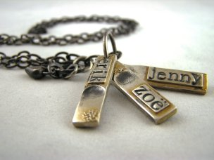 Fine Silver Fingerprint and Name Tag Necklace with Custom Texture Detail