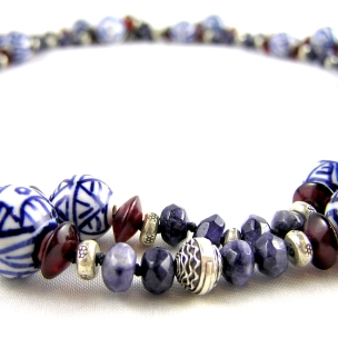 Delft, Garnet and Thai silver necklace