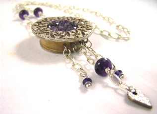 Fine silver amethyst dreamcatcher necklace